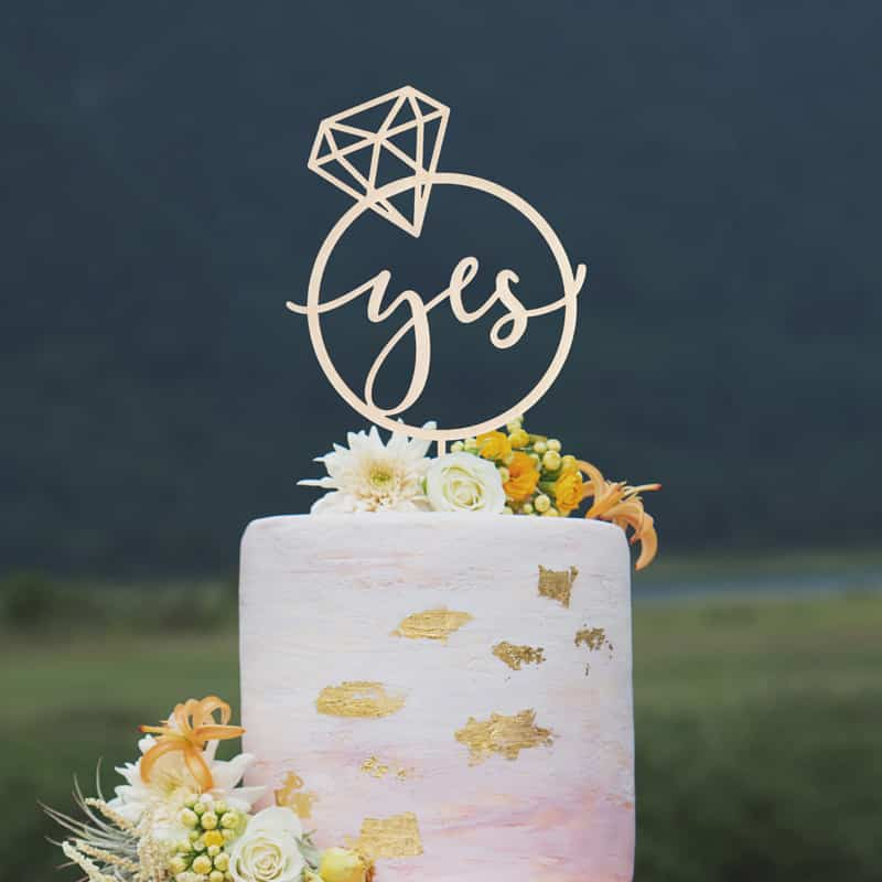 Yes Engagement cake topper by Thistle and Lace