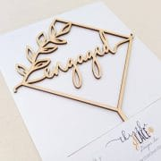 Engaged Rustic Geometric Cake Topper by Thistle and Lace Designs Inc.