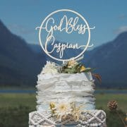 Where can you find the best custom baptism cake toppers near you? | God Bless Cake Topper for Baptism by Thistle and Lace Designs