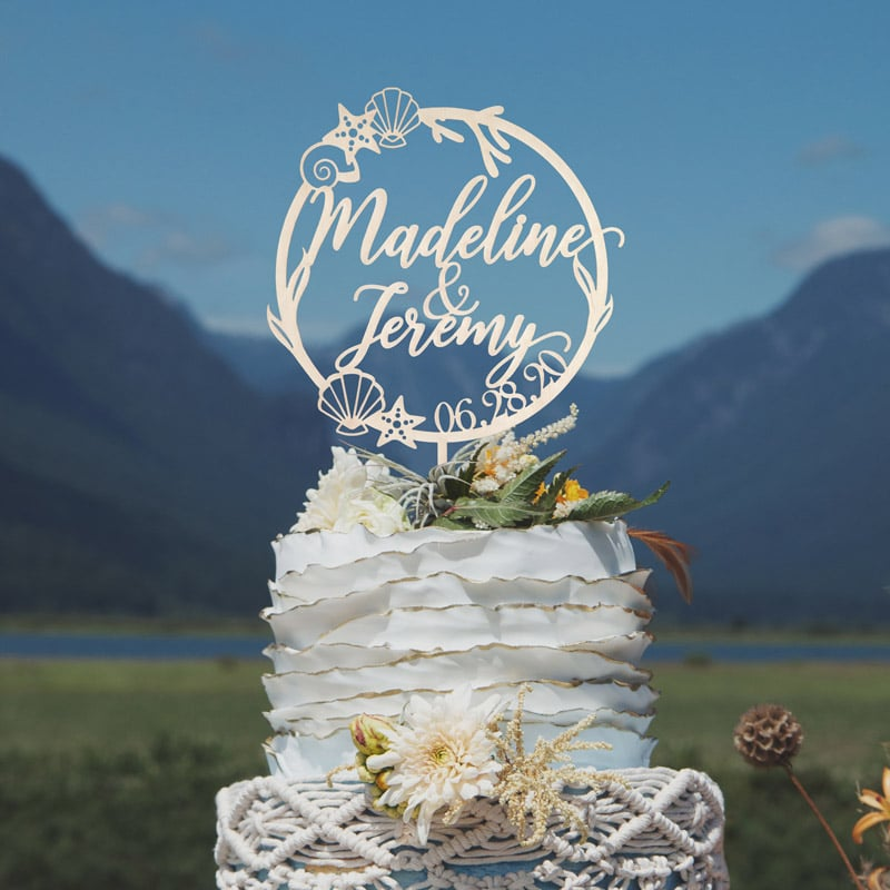 Custom Name Beach wedding cake topper by Thistle and Lace