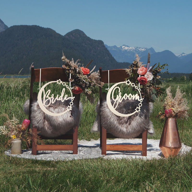 Bride and Groom Celestial Chair Signs by Thistle and Lace Designs Inc.