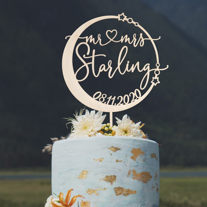 Celestial Mr and Mrs Wedding Cake Toppers by Thistle and Lace Designs Inc