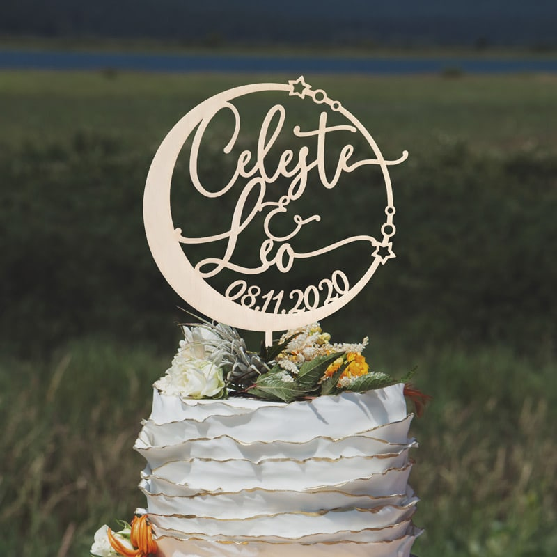 Custom Celestial Wedding Cake Topper by Thistle and Lace Designs Inc.