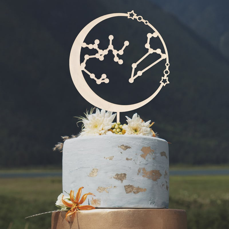 Constellation Wedding Cake Topper by Thistle and Lace Designs Inc.