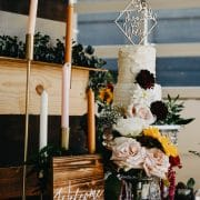 Modern diamond shaped wedding cake topper by Thistle and Lace Designs Inc.
