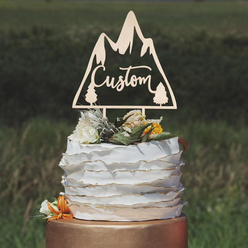 Custom Design Mountain Cake Topper by Thistle and Lace Designs