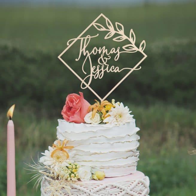 Modern diamond shaped wedding cake topper