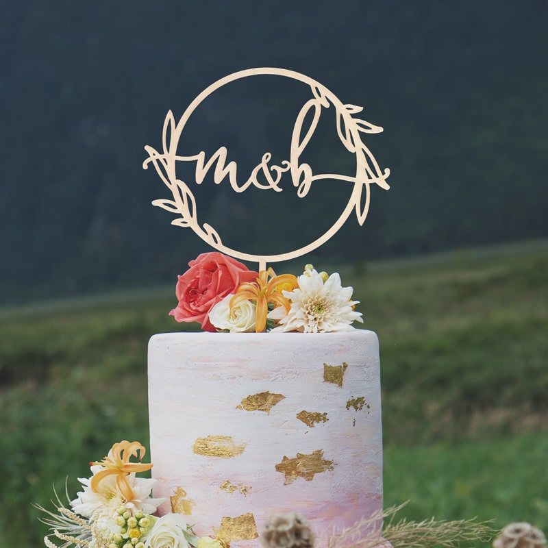 Rustic Monogram Cake Topper by Thistle and Lace Designs