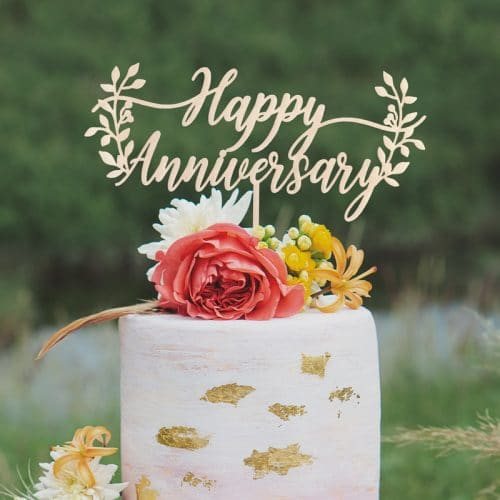 Rustic Happy Anniversary Cake Topper
