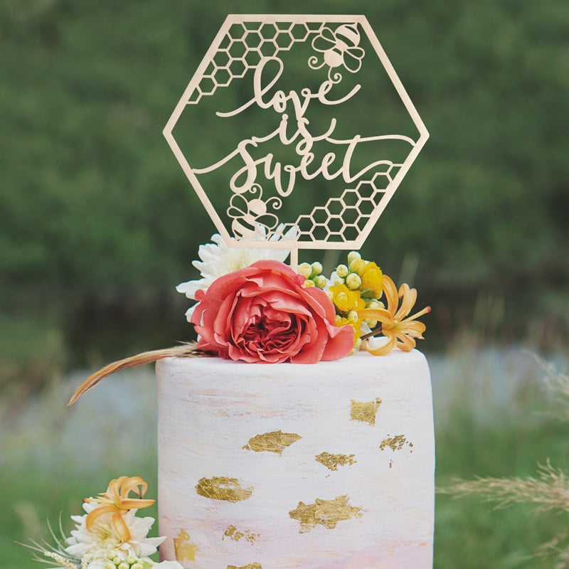 Love is Sweet Wedding Cake Topper by Thistle and Lace Designs Inc