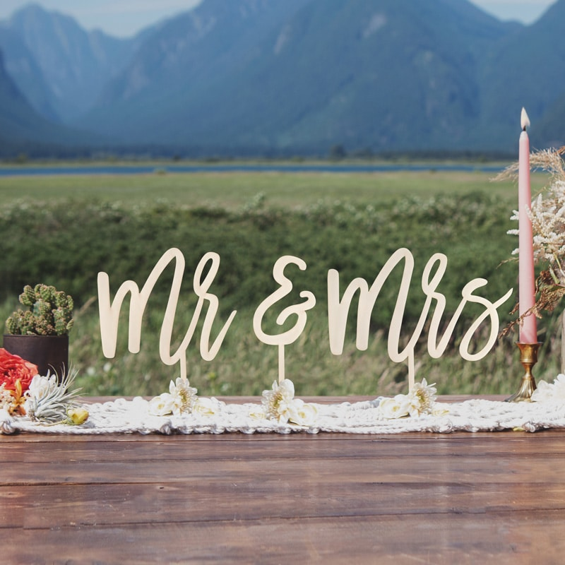 Mr and Mrs Wedding Signs by Thistle and Lace