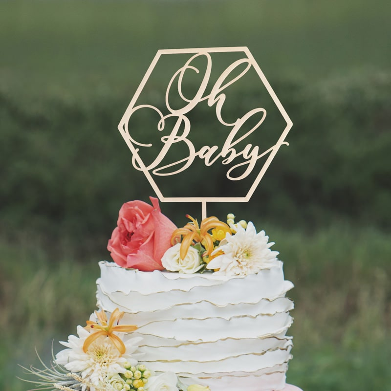 Oh Baby Geometric Cake Topper by Thistle and Lace Designs Inc.