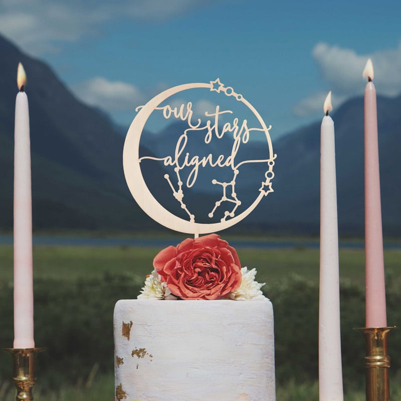 Our Stars Aligned Celestial Cake Topper by Thistle and Lace Designs Inc.