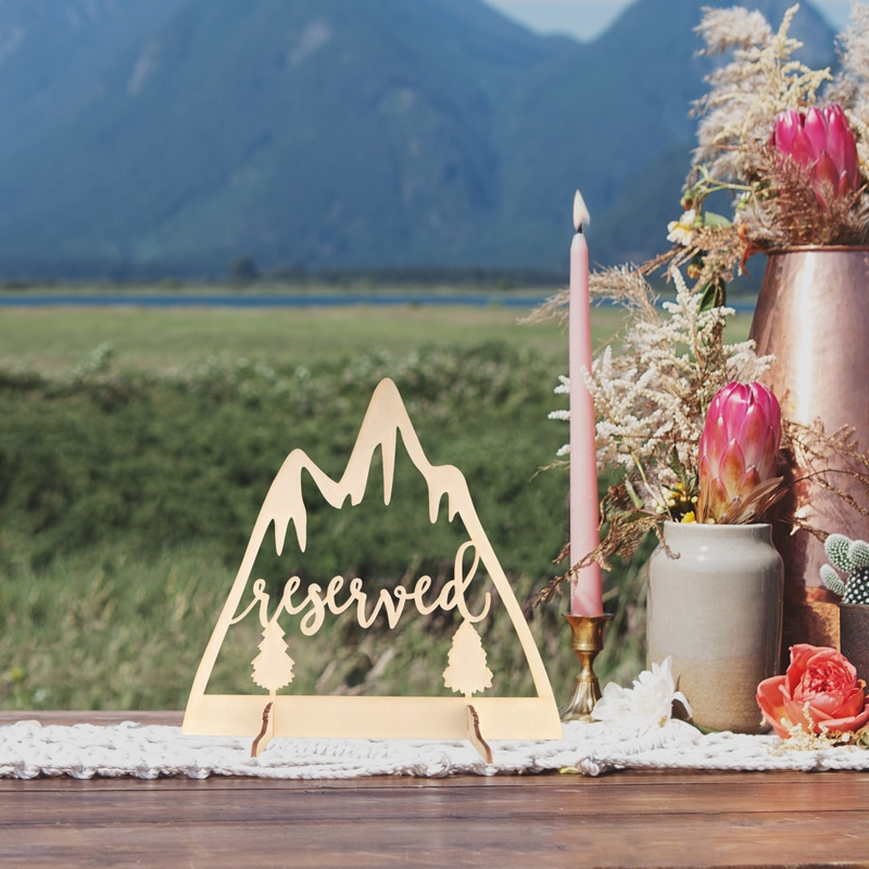 Reserved Mountain Table Sign by Thistle and Lace Designs Inc.