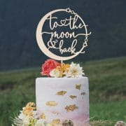 To the moon and back celestial wedding cake topper
