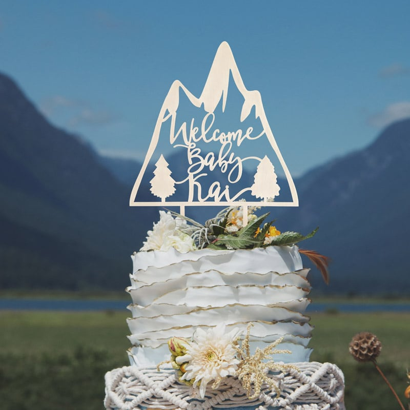 Welcome Baby Mountain Cake Topper by Thistle and Lace Designs Inc.