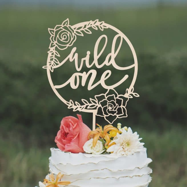 Wild one Floral birthday cake topper