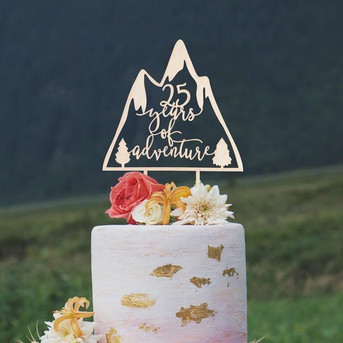 Years of Adventure anniversary cake topper by Thistle and Lace