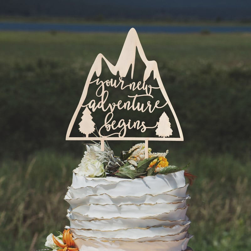 Your New Adventure Begins Cake Topper by Thistle and Lace Designs Inc