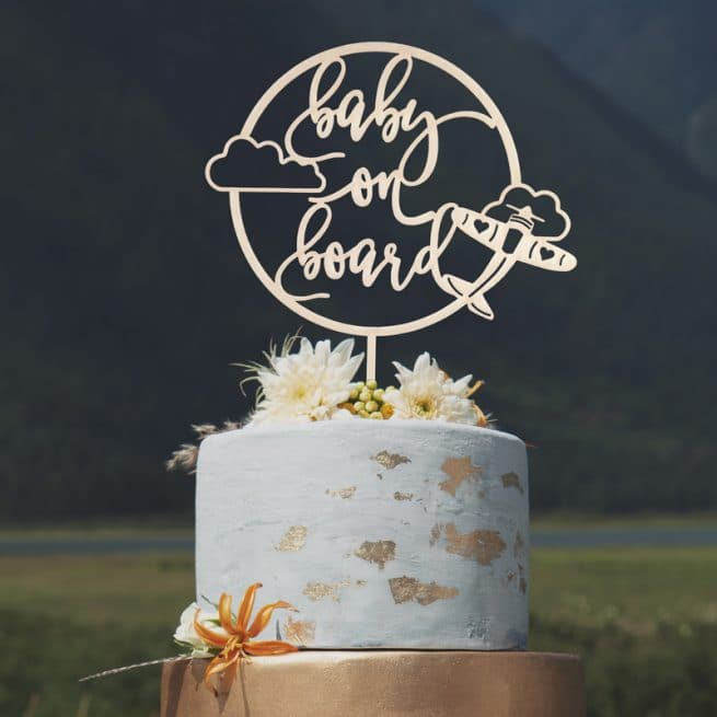 Baby on Board Airplane Cake Topper