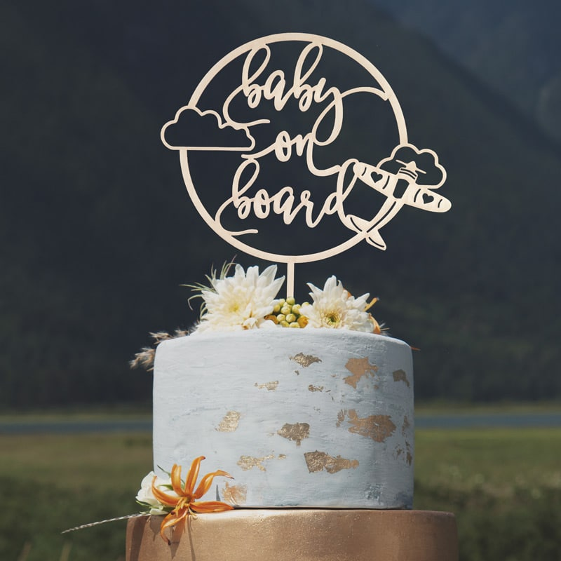 Baby on Board Airplane Cake Topper by Thistle and Lace Designs Inc.