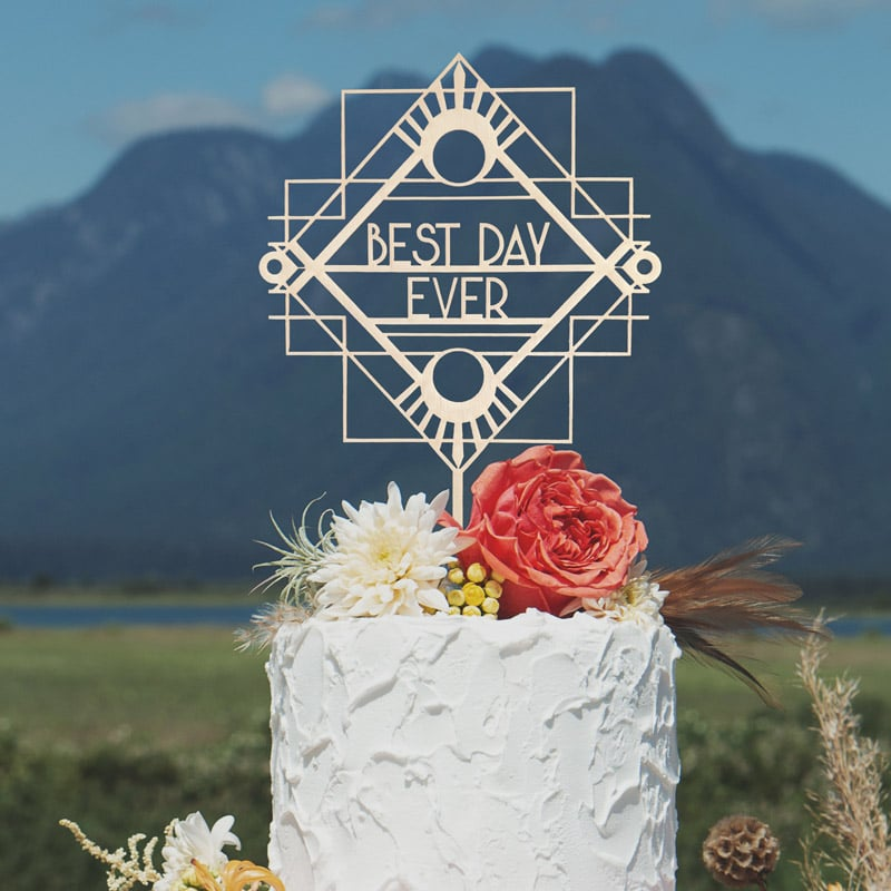Best Day Ever Art Deco Cake Topper by Thistle and Lace Designs Inc