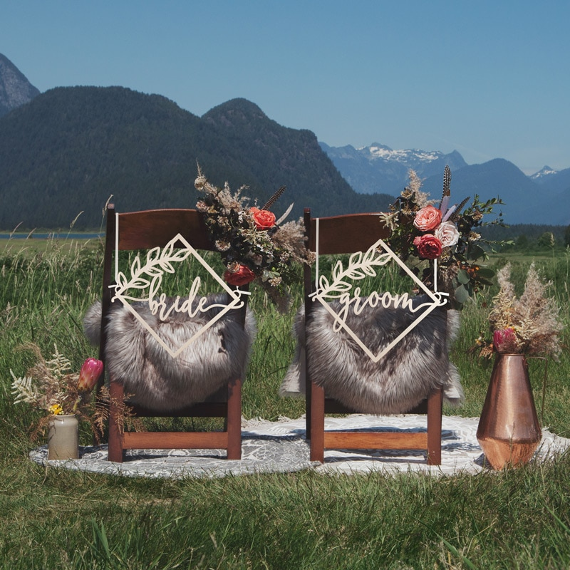 Bride and Groom Diamond Chair Signs by Thistle and Lace Designs Inc.