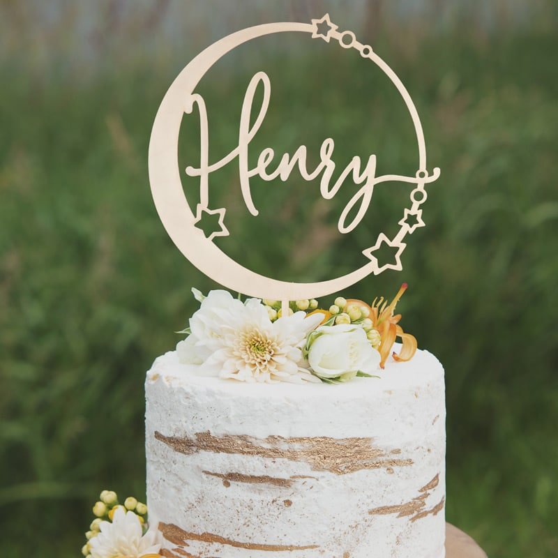 Celestial Name Cake Topper by Thistle and Lace Designs Inc.