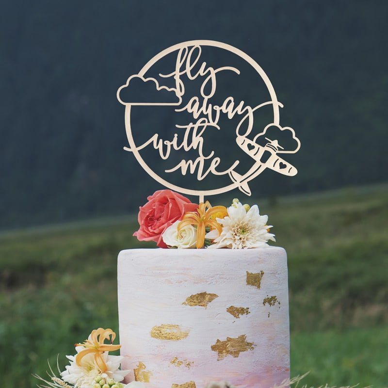 Fly away with me Wedding cake topper by Thistle and Lace