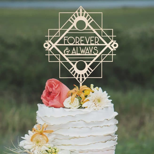Forever and Always Art Deco Cake Topper