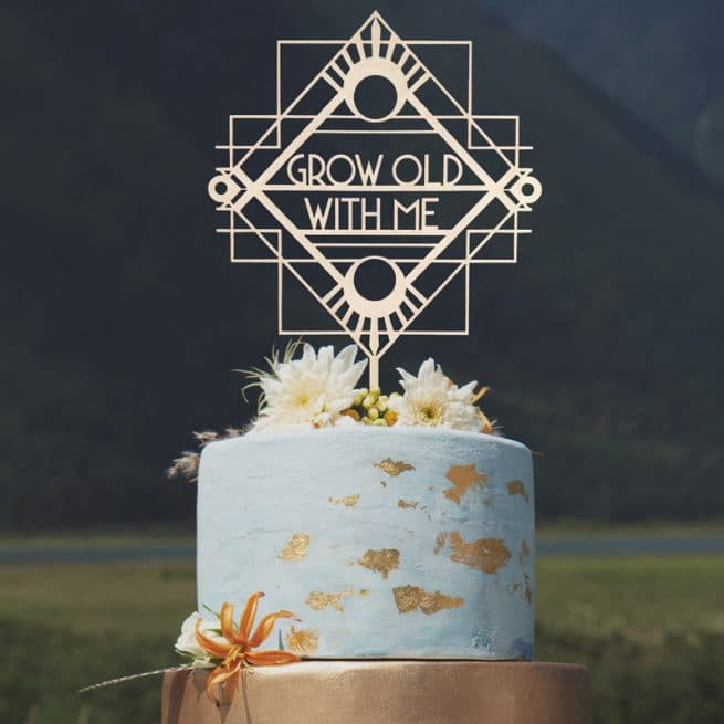 Grow Old with Me Art Deco Cake Topper