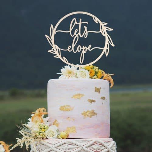 Let's Elope Cake Topper