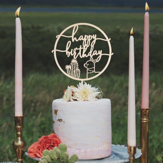 Happy Birthday Cactus & Llama Cake Topper