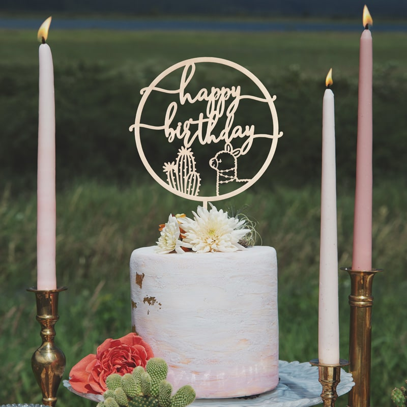 Happy Birthday Cactus & Llama Cake Topper by Thistle and Lace Designs Inc.