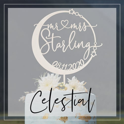 Celestial Wedding Cake Toppers and Decor