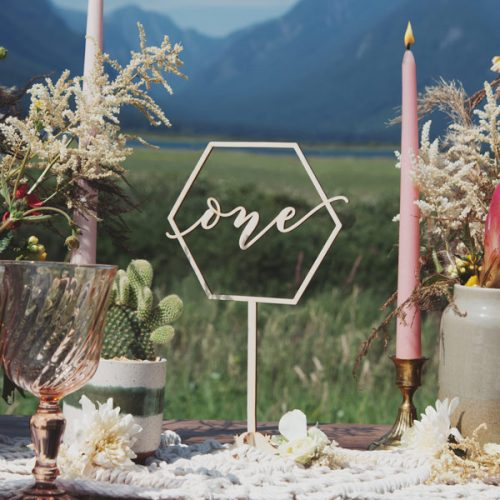 Geometric table numbers by Thistle and Lace