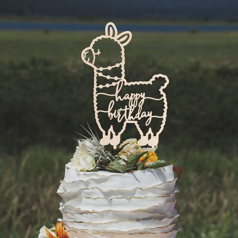 Happy Birthday Llama Cake Topper By Thistle and Lace Designs Inc.