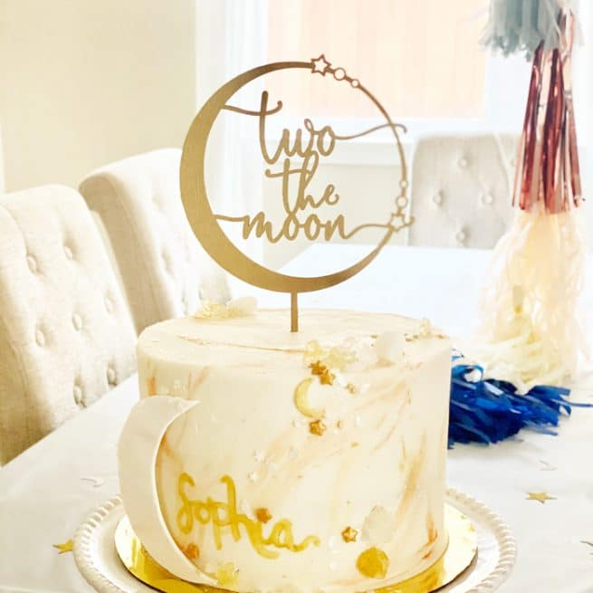 two the moon Second birthday Cake Topper by Thistle and Lace designs Inc.