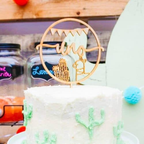 Uno Llama birthday cake topper by Thistle and Lace Designs Inc.