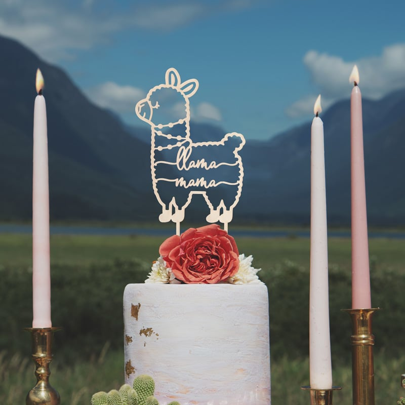 llama mama cake topper by Thistle and Lace Designs Inc.