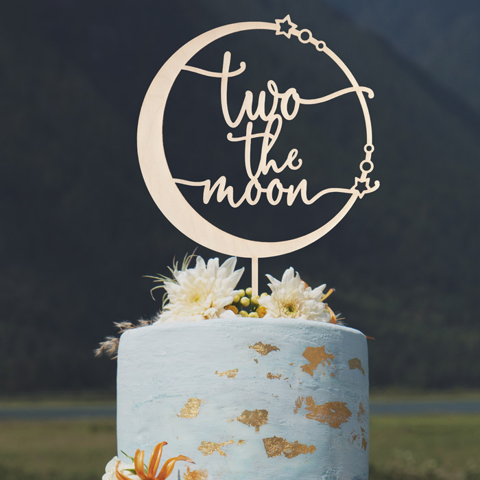 Astounding Two The Moon Birthday Cake Topper Thistle And Lace Designs Inc Personalised Birthday Cards Paralily Jamesorg