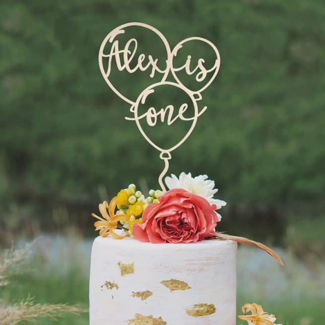Custom Balloon Birthday Cake Topper by Thistle and Lace Designs Inc