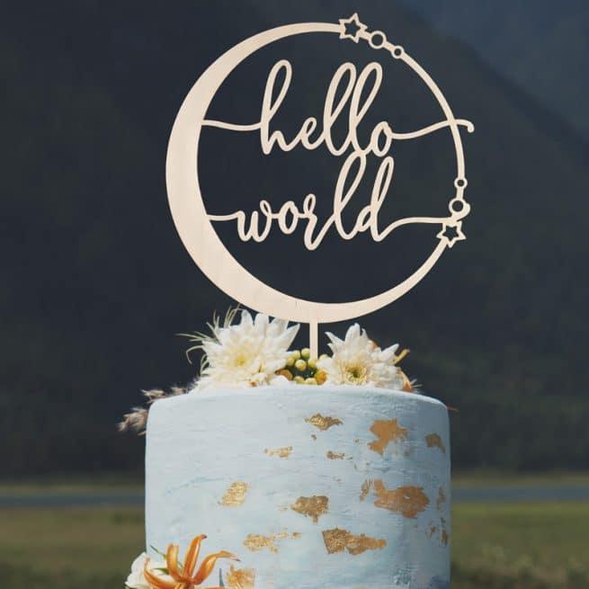 Hello World Baby Shower Cake Topper