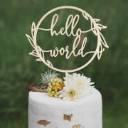 Hello World Baby Shower Cake Topper by Thistle and Lace Designs Inc