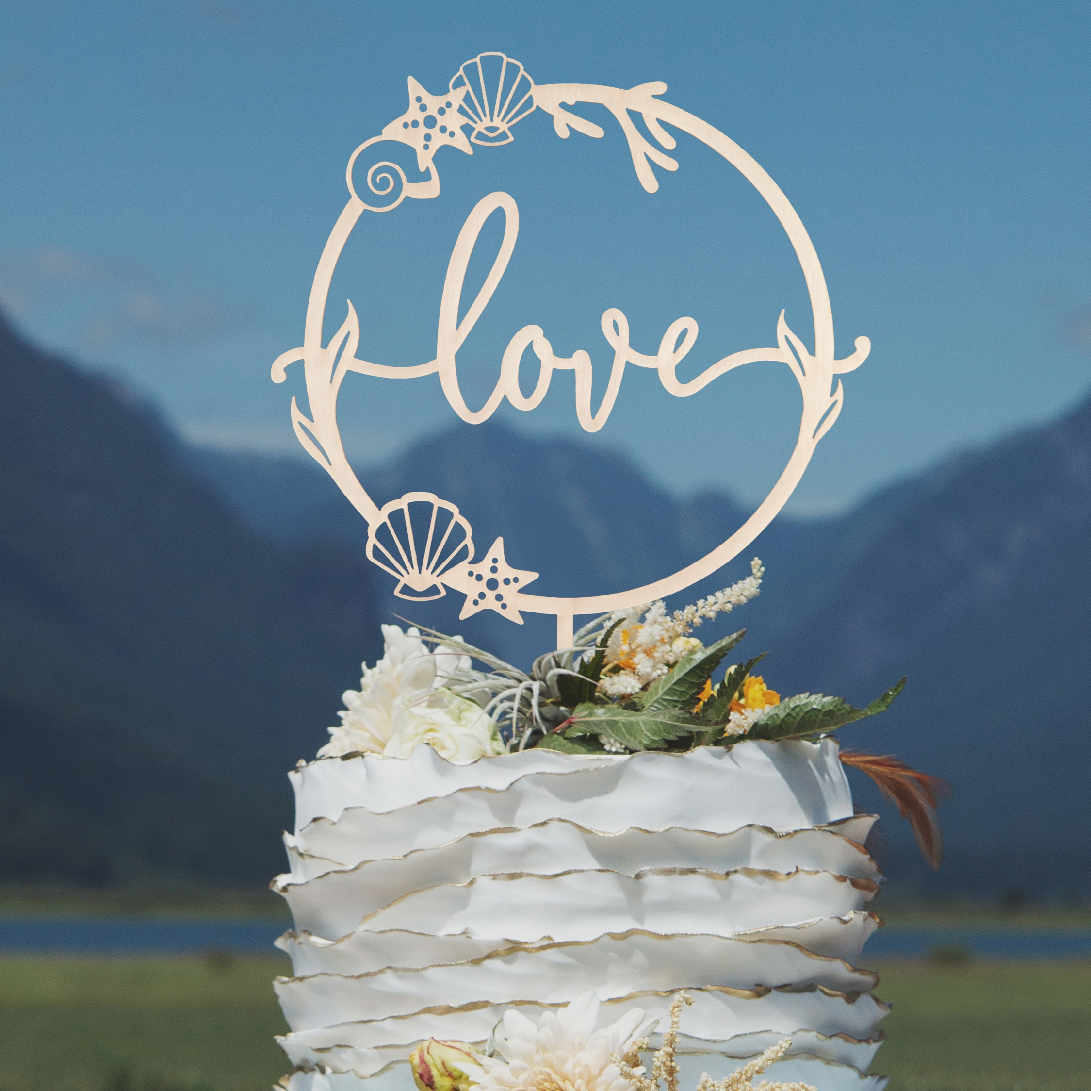 Love Beach Wedding Cake Topper by Thistle and Lace Designs Inc