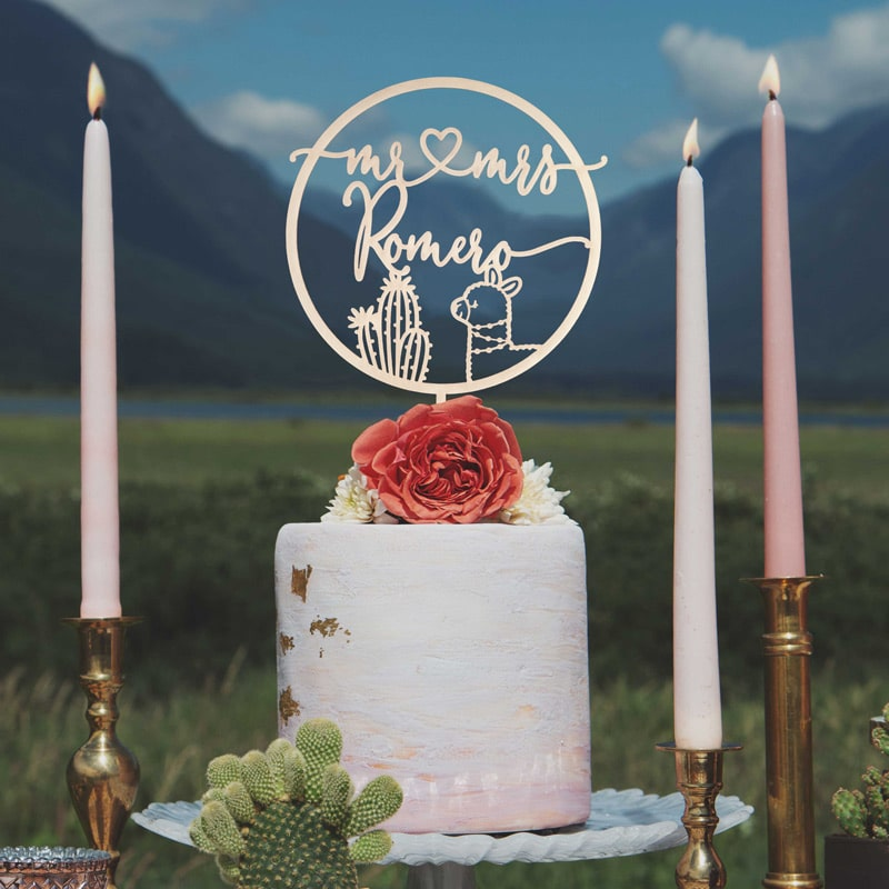 Custom Llama wedding cake topper by Thistle and Lace