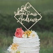 Custom Diamond Wedding Cake Topper by Thistle and Lace Designs Inc