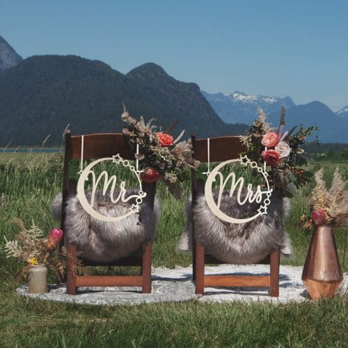 Mr and Mrs Celestial Chair Signs by Thistle and Lace Designs Inc.