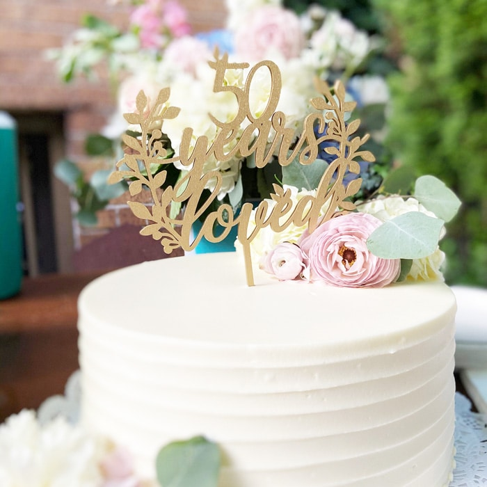 50 Years Loved Cake Topper by Thistle and Lace