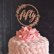 Rustic Fiftieth Birthday Cake Topper by Thistle and Lace